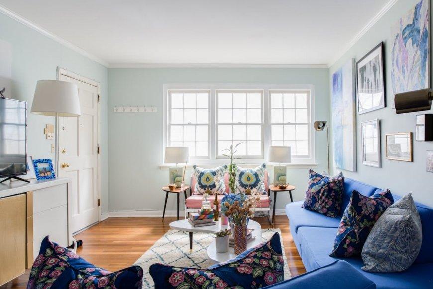 Интерьер гостиной в голубом цвете — особенности палитры, советы по декорированию, успешные фото идеи