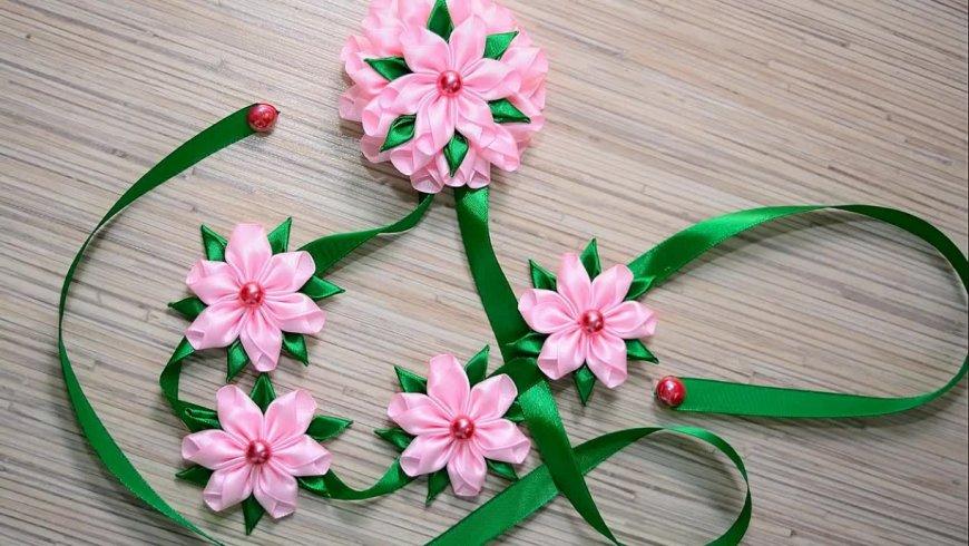 Как сделать цветы из атласных лент своими руками
