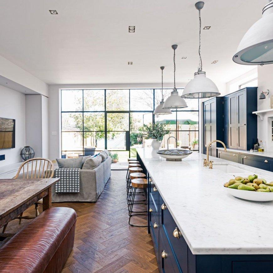 Серо-голубая кухня кухонный гарнитур серо-голубого тона в дизайне интерьера