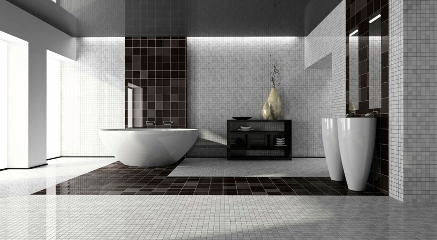 Все о дизайне черно-белой ванной комнаты