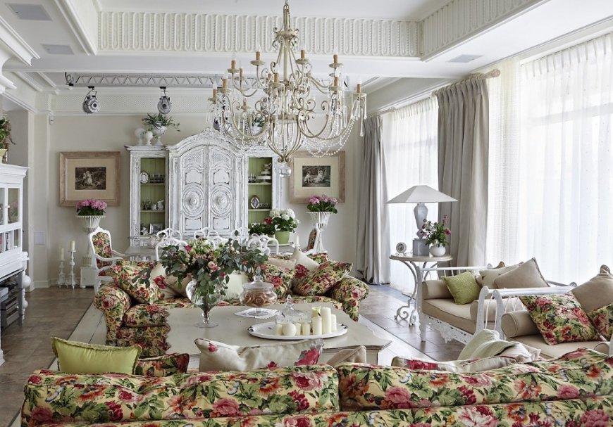 Гостиная в стиле прованс — особенности стиля, практичные советы и уникальная фото коллекция