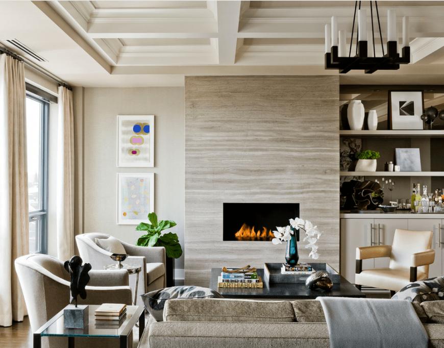 Дизайн гостиной с камином. 36 фото