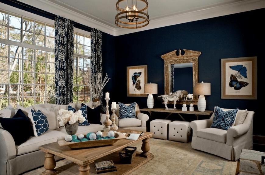 Оформления гостиной в темном цвете — подбор цветовой палитры, полезные советы и фото идеи