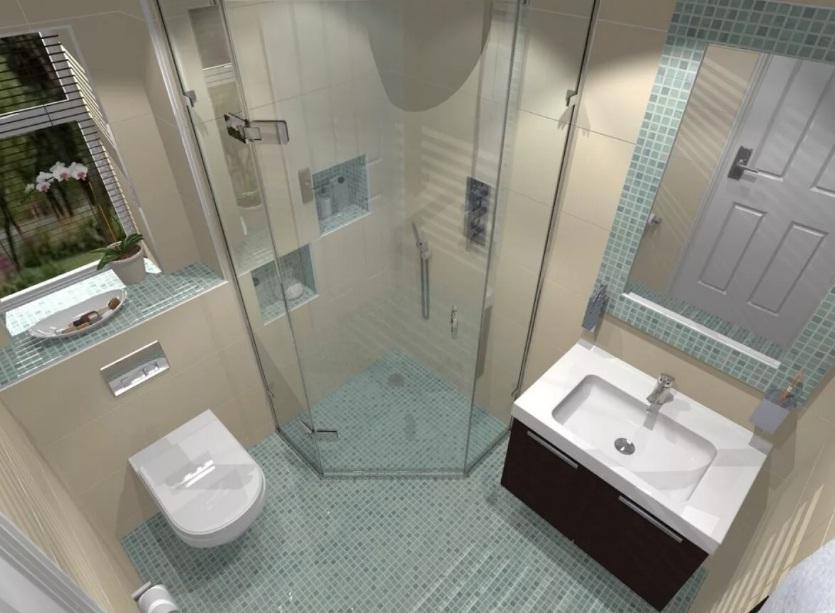 Дизайн ванной комнаты 2021 с душевой кабиной