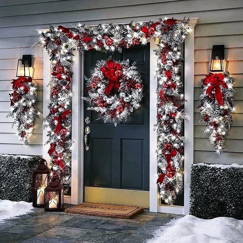 Украшаем двери к Новому году, новогодние украшения на входную дверь своими руками
